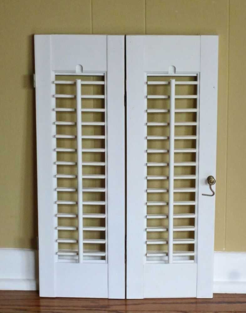 2 panels old shabby window wood louver shutters 20 x 13 for 13 window