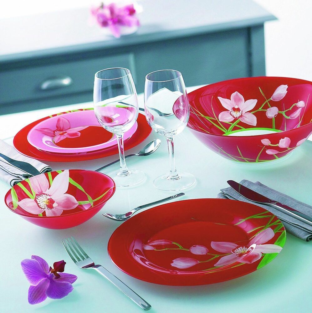 luminarc 39 red orchis 39 19 pc red unbreakable tempered glass dinnerware set ebay. Black Bedroom Furniture Sets. Home Design Ideas