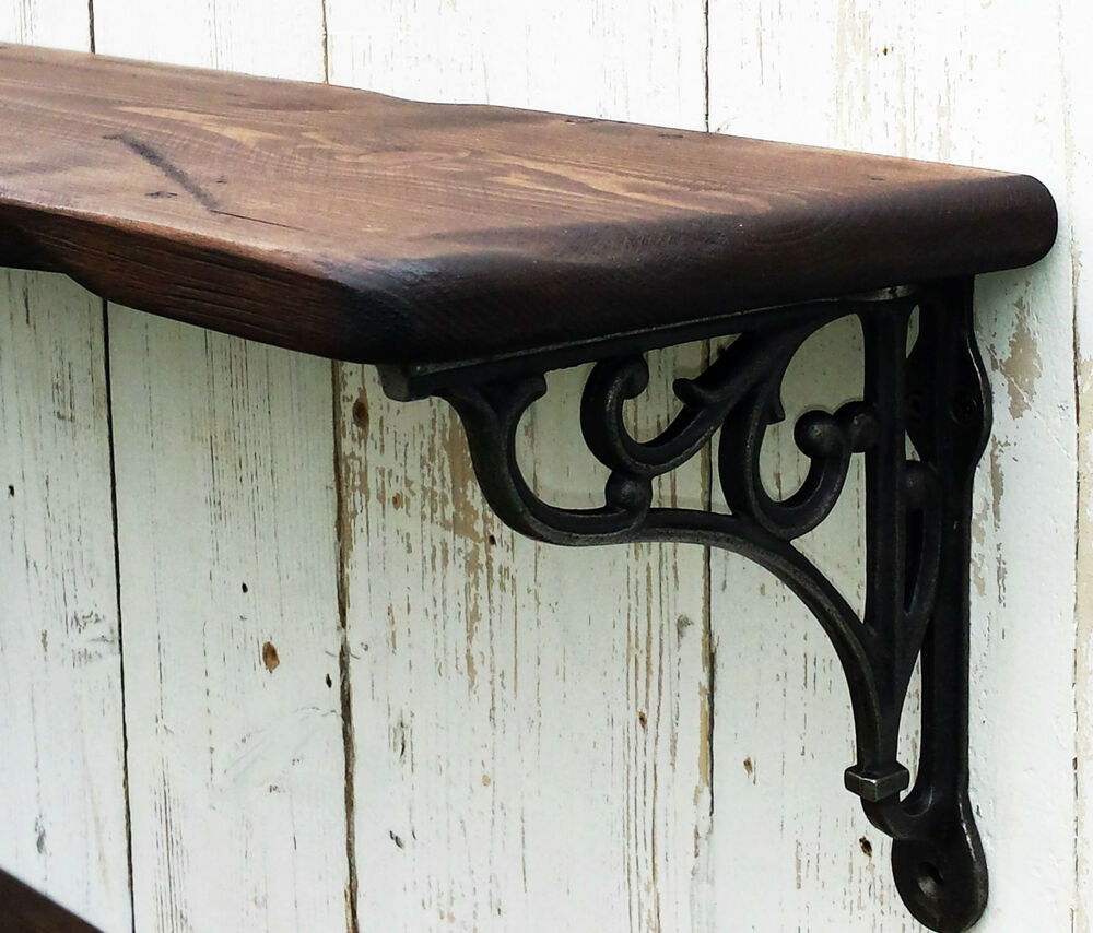 Reclaimed Look Vintage Style Solid Wood Shelf With Cast