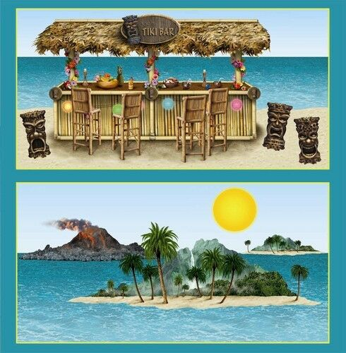 Party Island Beach: Luau TIKI BAR & ISLAND PROPS Party Decorations (8 Props