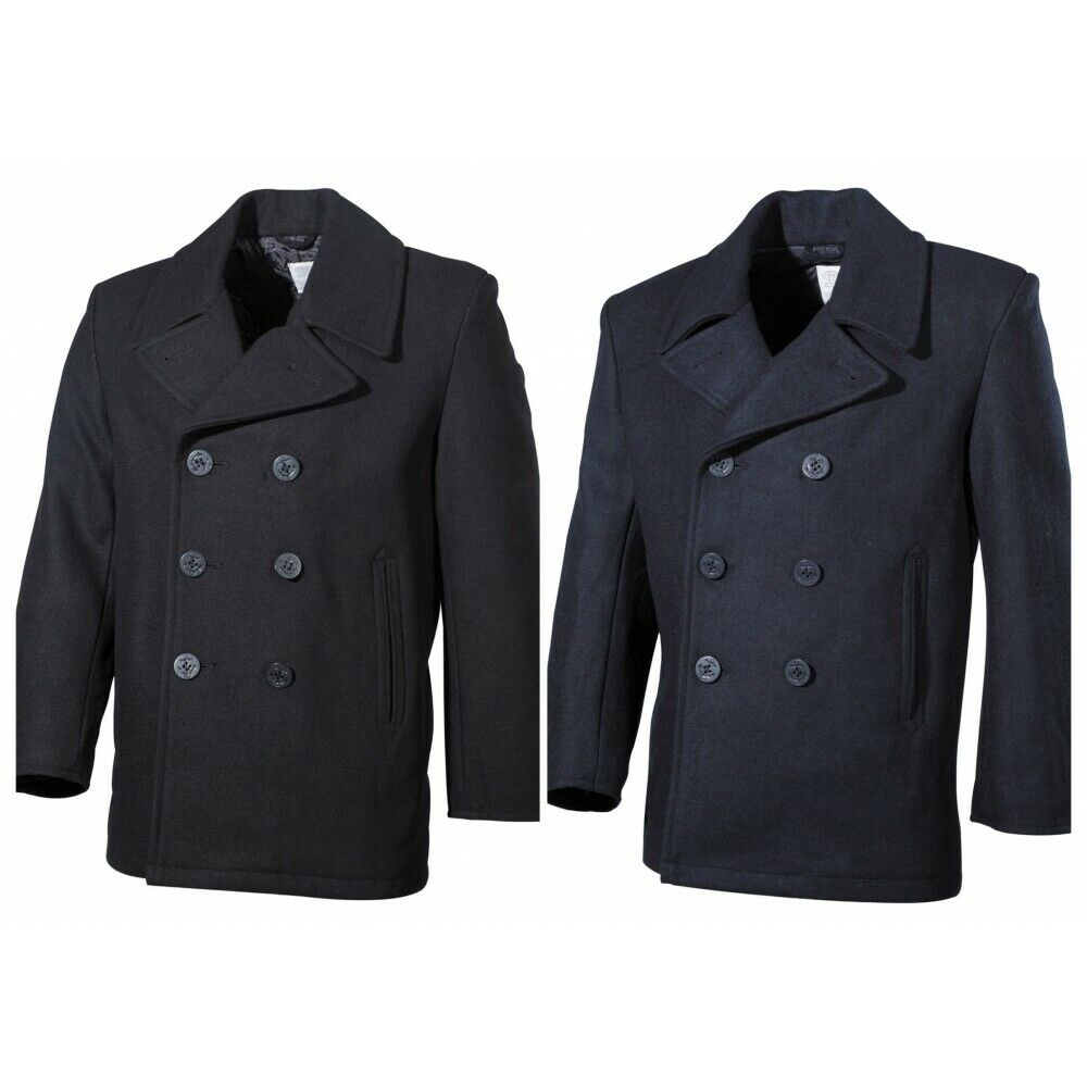 us pea coat kn pfe herren woll mantel jacke marine army kurzmantel navy schwarz ebay. Black Bedroom Furniture Sets. Home Design Ideas
