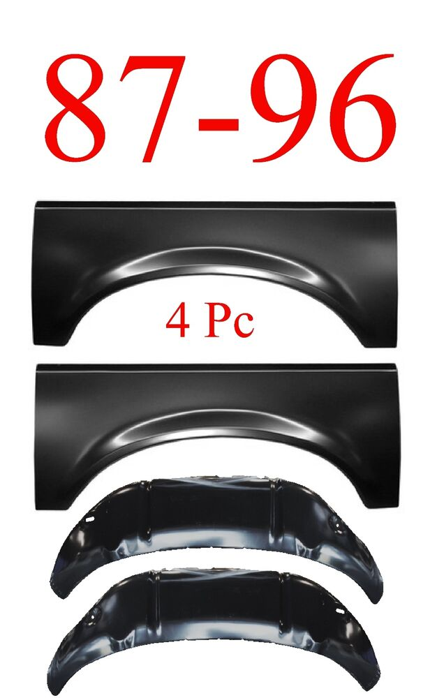 87 96 4pc Ford Inner Amp Outer Wheel Arch Repair Panel Kit