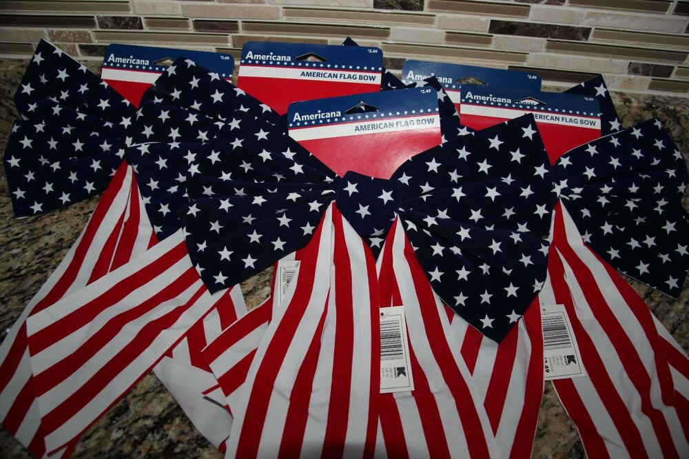 8 Usa Flag Bows Indoor Outdoor Decorations Red White Blue