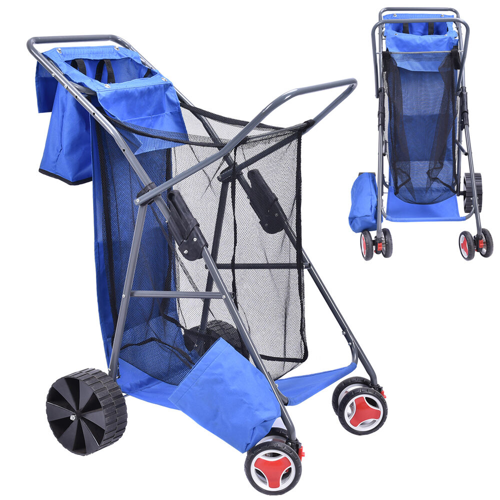 Deluxe foldable beach wonder tote cart folding storage for Folding fishing cart
