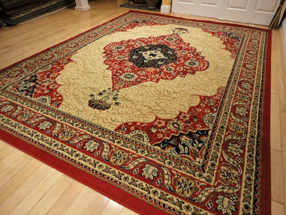 Large Red Area Rug 8x10 Persian Rug 5x8 Carpet 8x11 Cream
