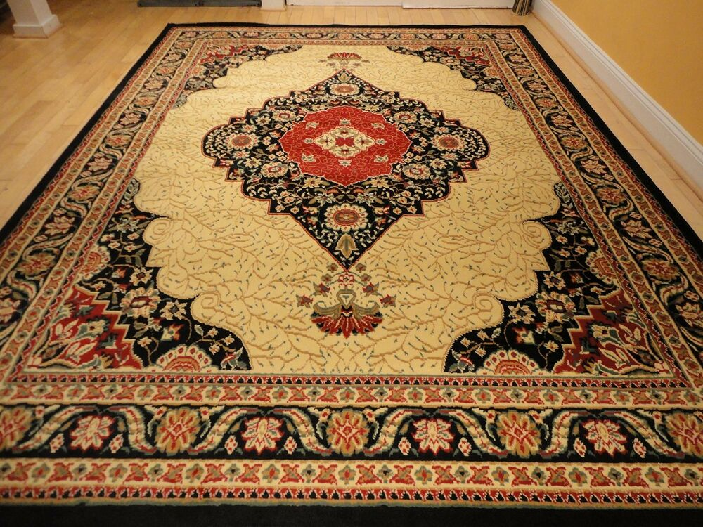 Large 8x10 persian black rug floor carpet 5x8 tabriz for Living room rugs 9x12