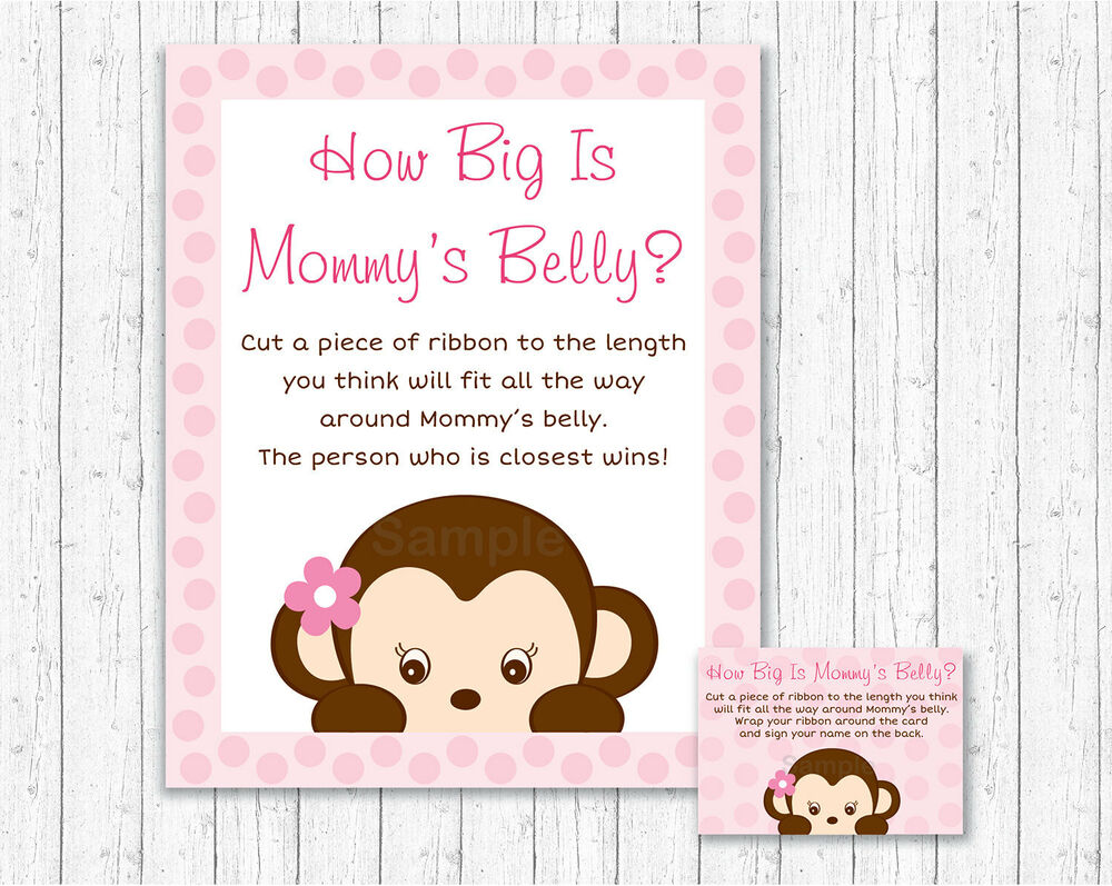 Pop Monkey Pink How Big Is Mommys Belly Baby Shower Game Ebay