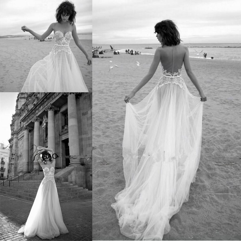Elegant lace backless beach wedding dresses vintage 2016 for Vintage backless wedding dresses