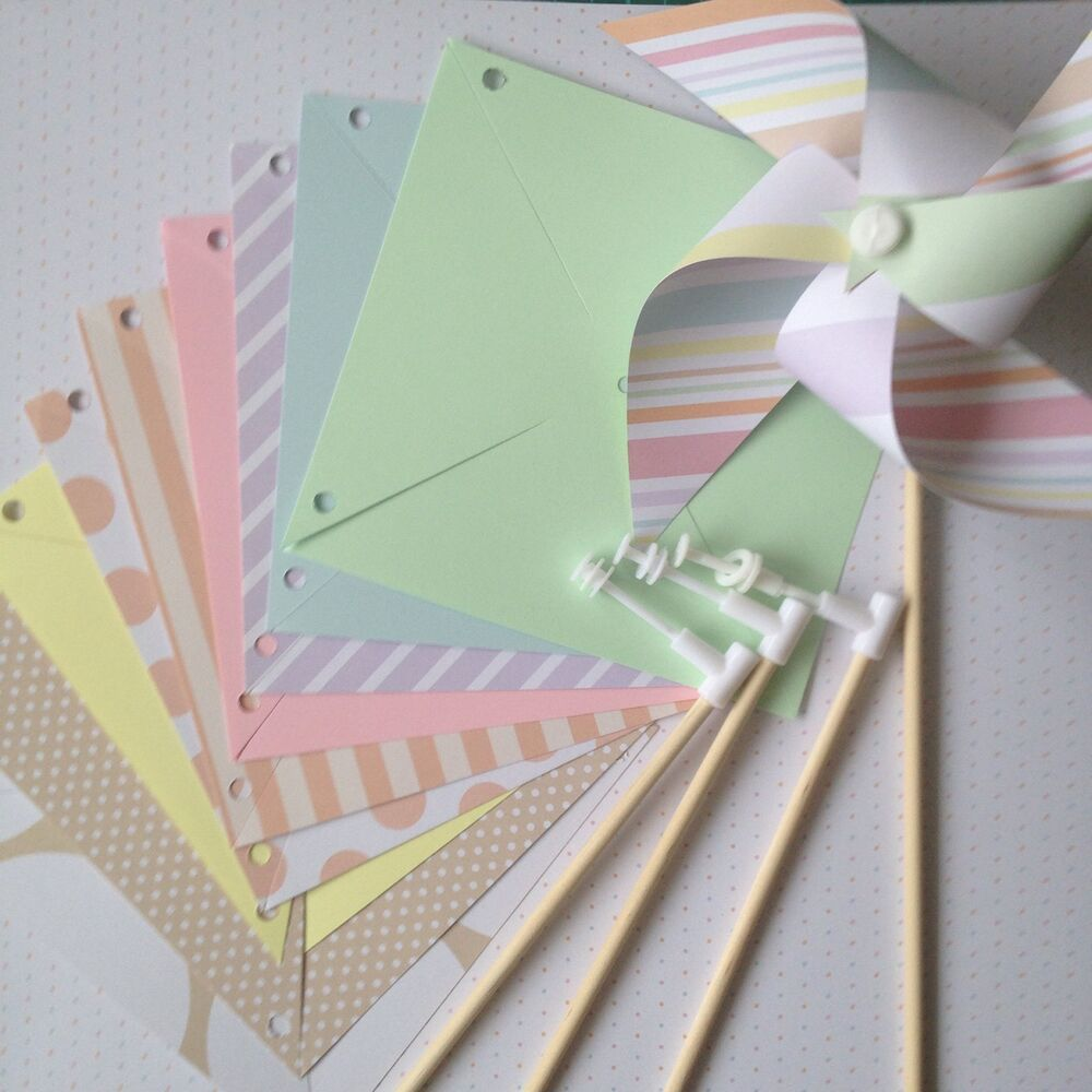 Paper pinwheel kit wedding diy pastels baby shower for Baby shower decoration kit