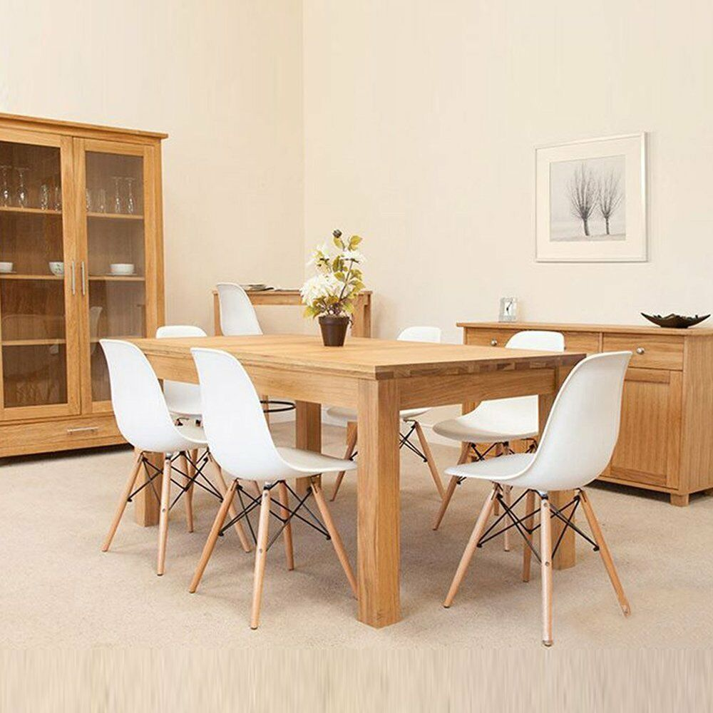 eames chair natural wood legs cushion seat back for dining room chairs set of 4 ebay. Black Bedroom Furniture Sets. Home Design Ideas