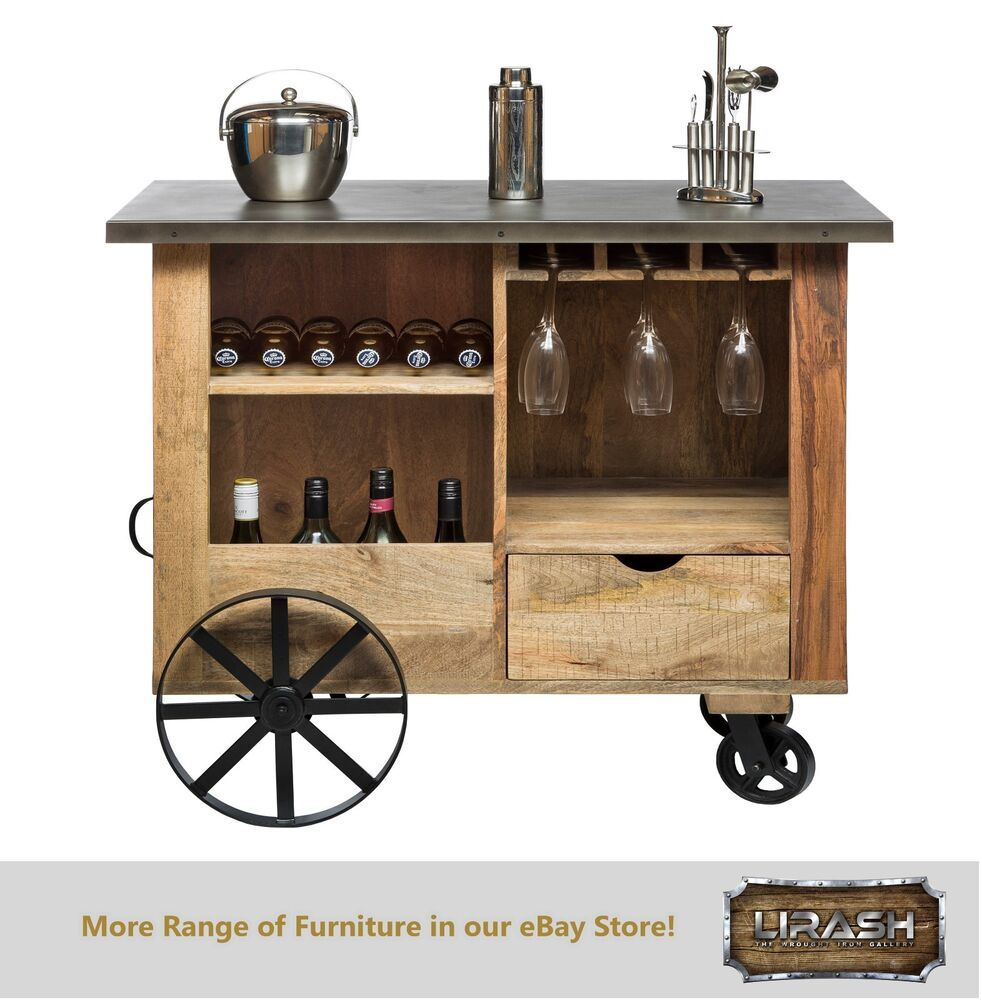 Bar cabinet trolley cart kitchen island industrial wine storage ebay - Kitchen cabinets trolleys pictures ...