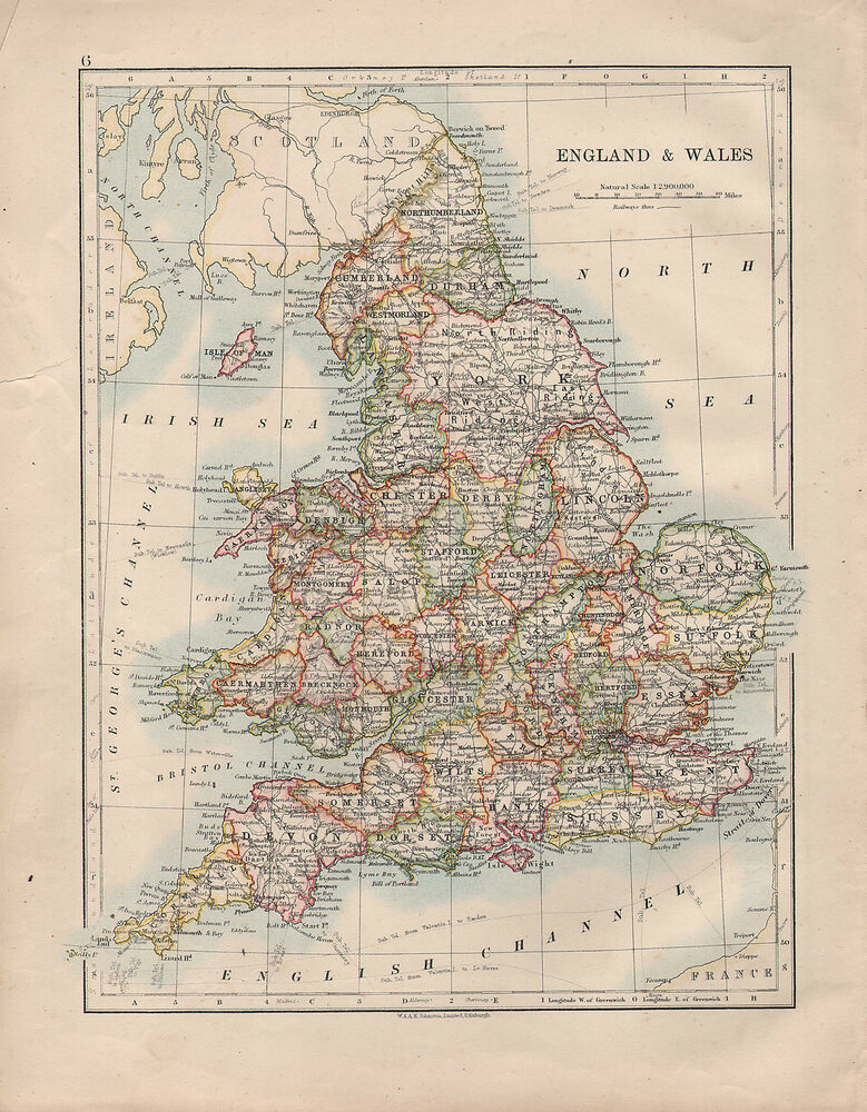 Map Of England And Wales.1914 Map England Wales York Devon Kent Sussex Chester Derby