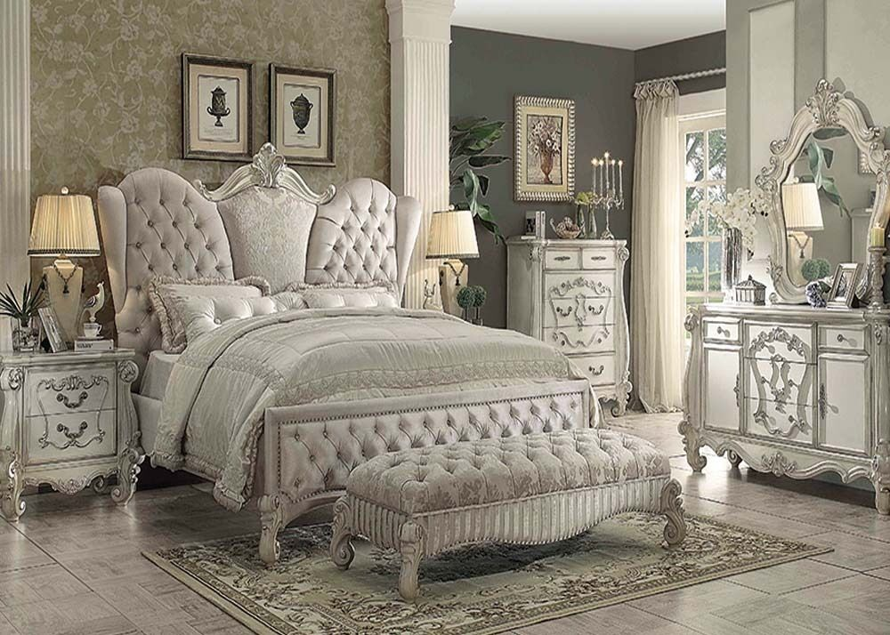 Traditional Antique Ivory Velvet Queen King Bed For Luxury