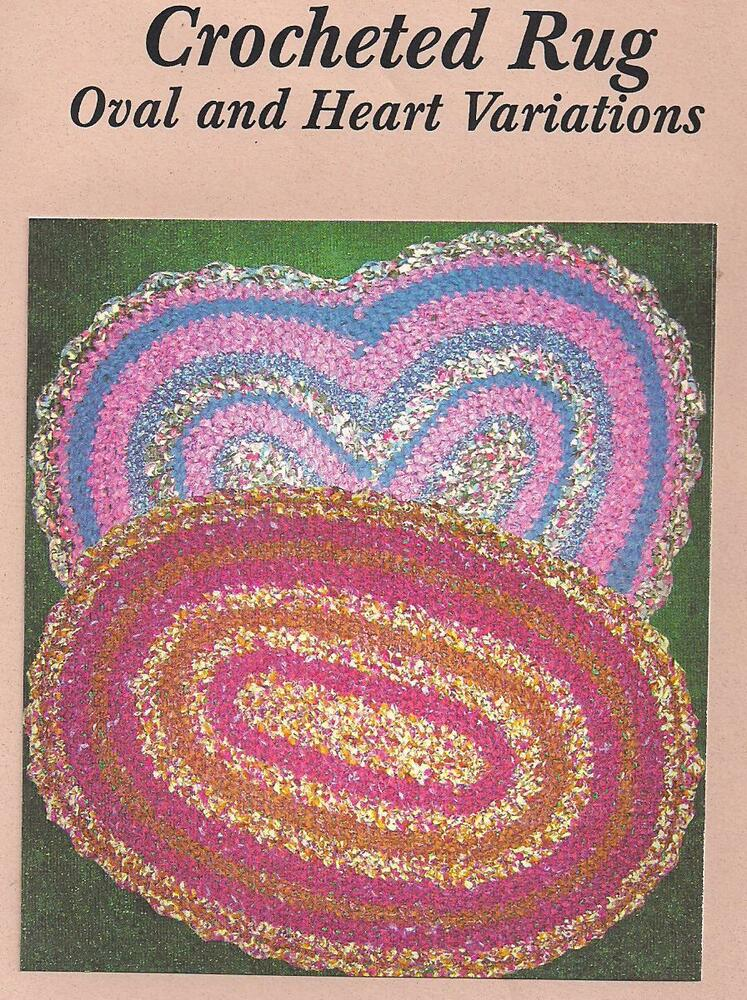 Fabric Crochet Rag Rug Pattern Oval And Heart Variations