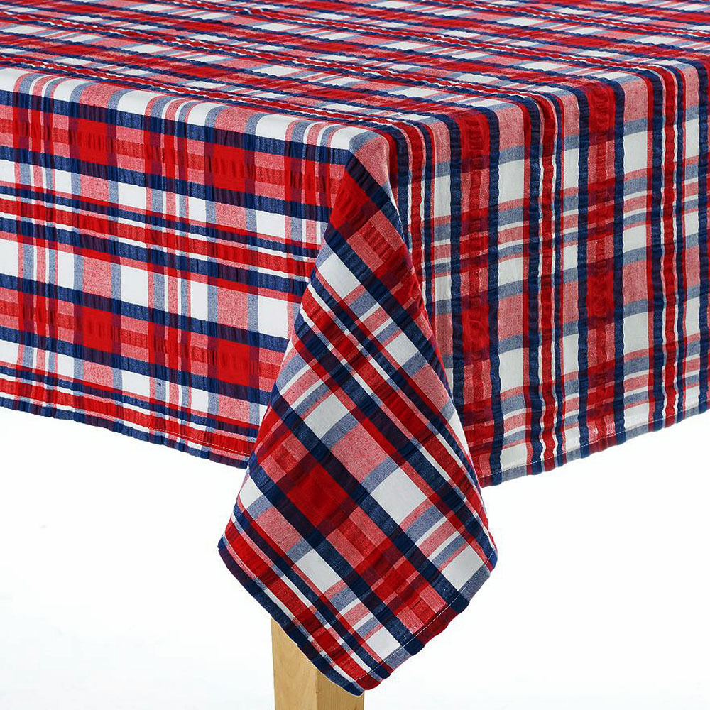 Americana Textured Red Seersucker Plaid Tablecloth Country
