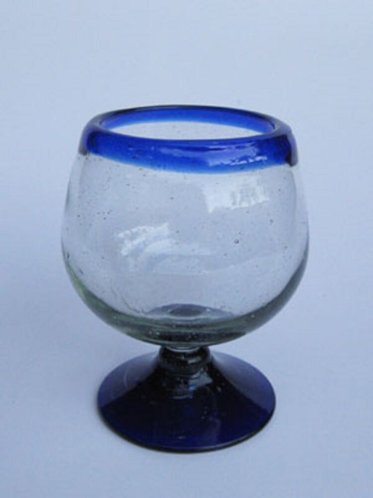 Mexican Glassware Cobalt Blue Rim Large Cognac Glasses