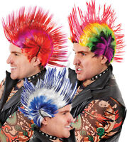 PUNK MOHICAN WIGS - 3 COLOURS - 80S FANCY DRESS HALLOWEEN STAG LADS NIGHT RETRO