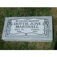 Granite headstone marker- gray- sawn edges- engraving included