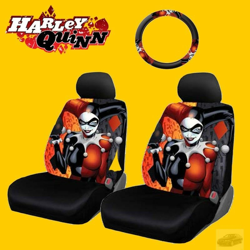 New Car Seat And Steering Wheel Cover DC Comics Harley