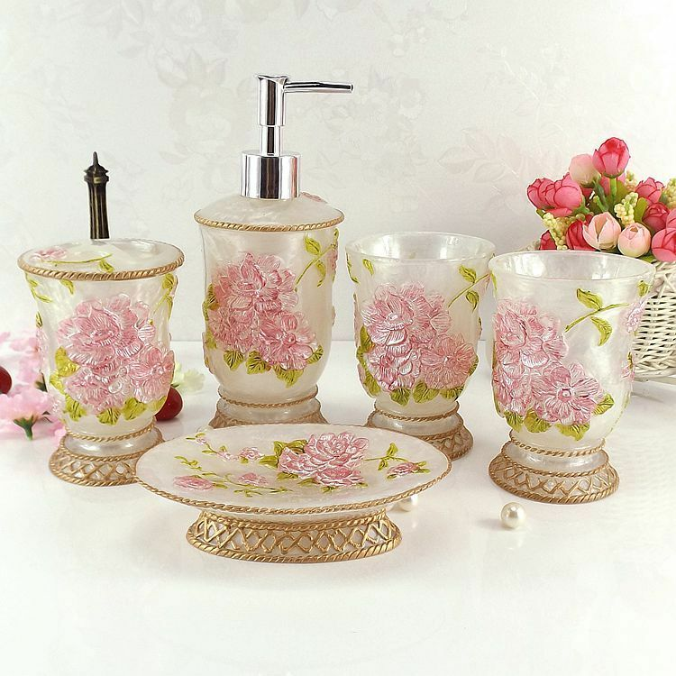5pcs resin flower carving bath decor accessories set soap for Floral bath accessories