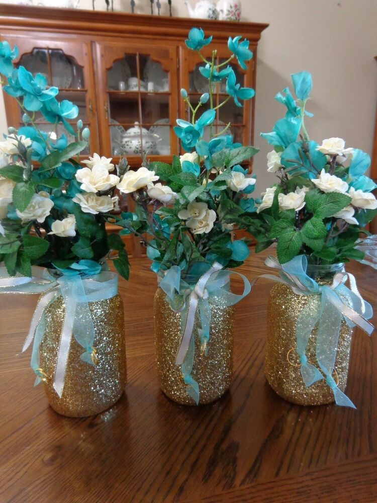 Gold glitter mason jar wedding decor vases