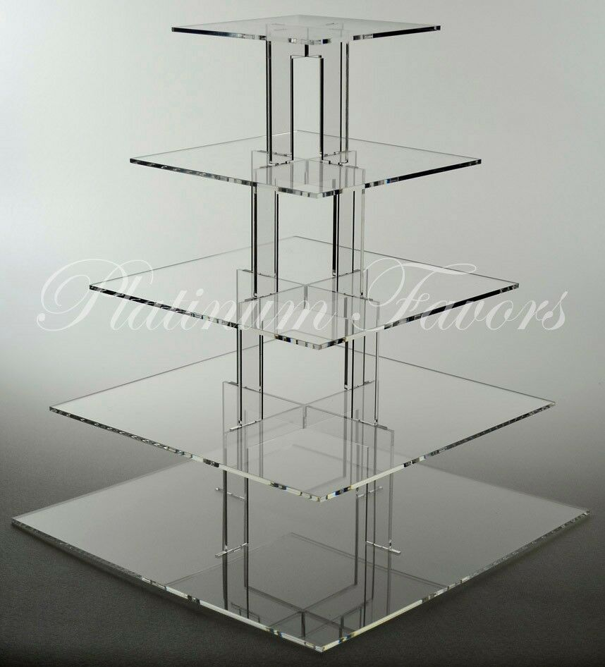 square tiered wedding cake stands 5 tier square acrylic cupcake stand clear wedding cake 20377