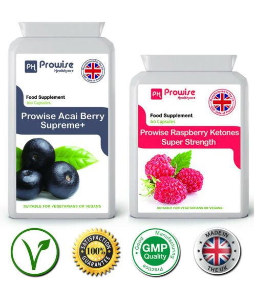 Prowise Acai Berry 120 Capsule 1000mg Rasberry Ketones 60 Capsule 600mg UK Made