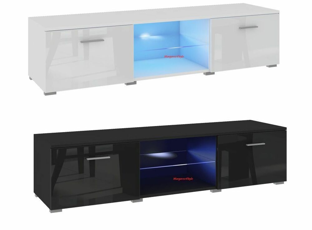 tv schrank lowboard sideboard 120 cm mit led r cklicht ebay. Black Bedroom Furniture Sets. Home Design Ideas