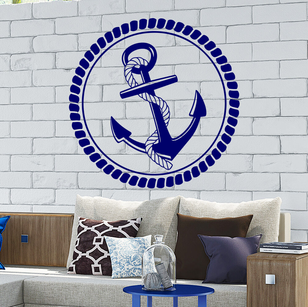 Wall decal anchor rope nautical border kids bedroom decor for Decor mural wall art