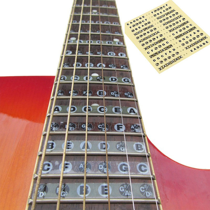 new guitar neck fretboard note map fret sticker lables decals learn fingerboard ebay. Black Bedroom Furniture Sets. Home Design Ideas