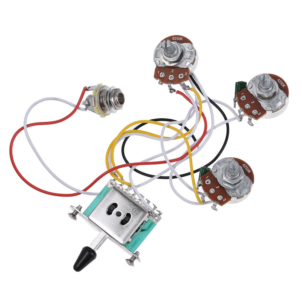 guitar wiring harness kit 5 way toggle switch 250k 2t1v. Black Bedroom Furniture Sets. Home Design Ideas