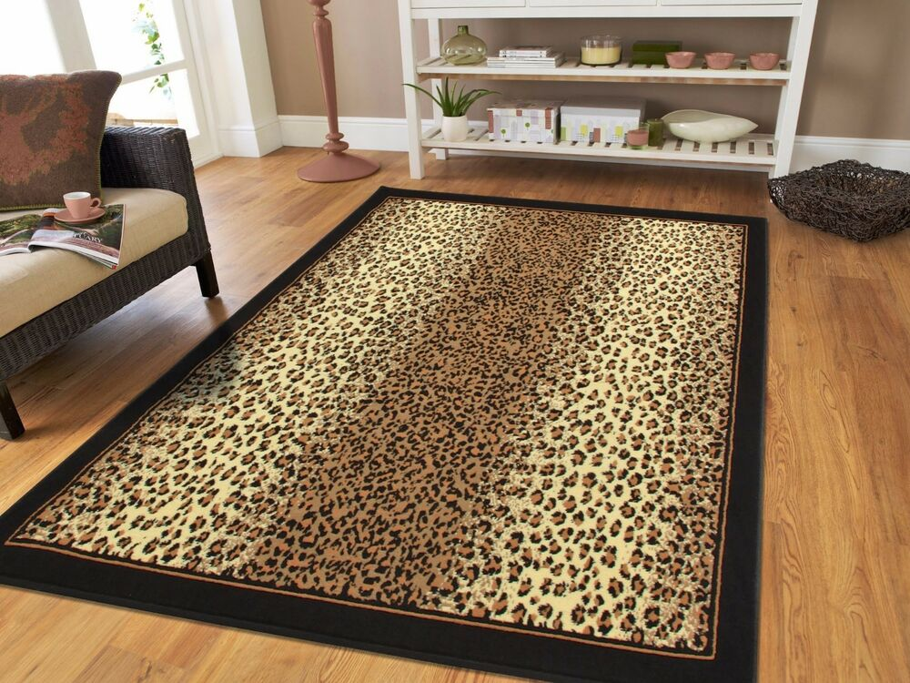 leopard print rug living room jungle cheetah rug 8x11 black brown beige animal carpet 19554