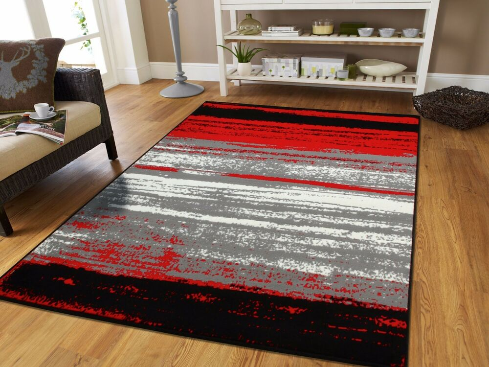 Large Grey Modern Rugs For Living Room 8x10 Abstract Area Rug Red Black Gray 5x7 Ebay