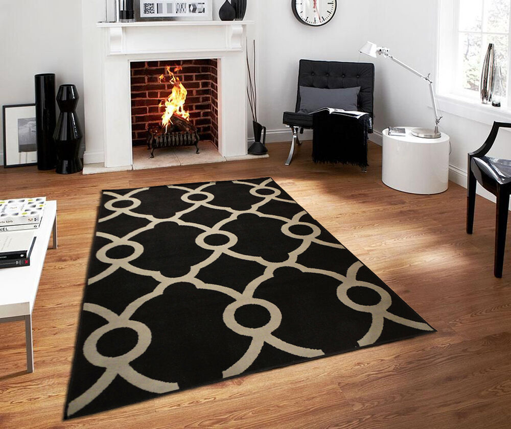 Modern Rugs 8 X 10: New Black Gray Contemporary Moroccan Trellis Area Rug 8x10
