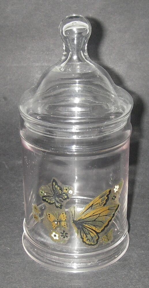 mid century glass clear apothecary jar canister w ball lid 8