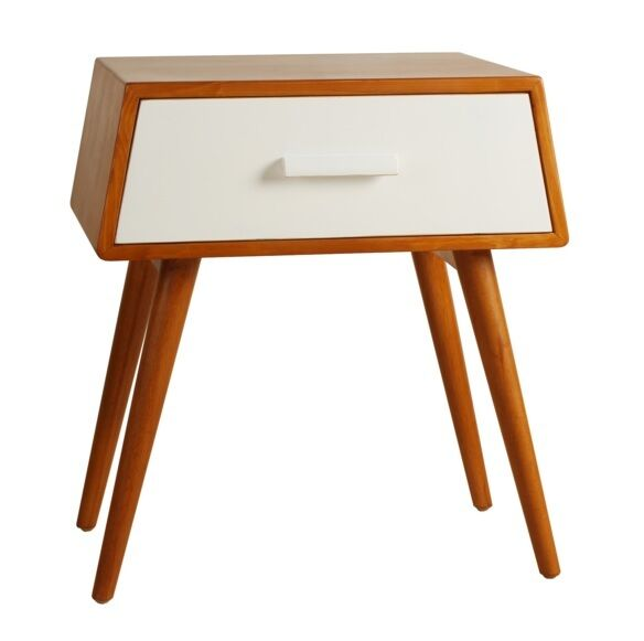 mid century nightstand w storage drawer wood white modern side table