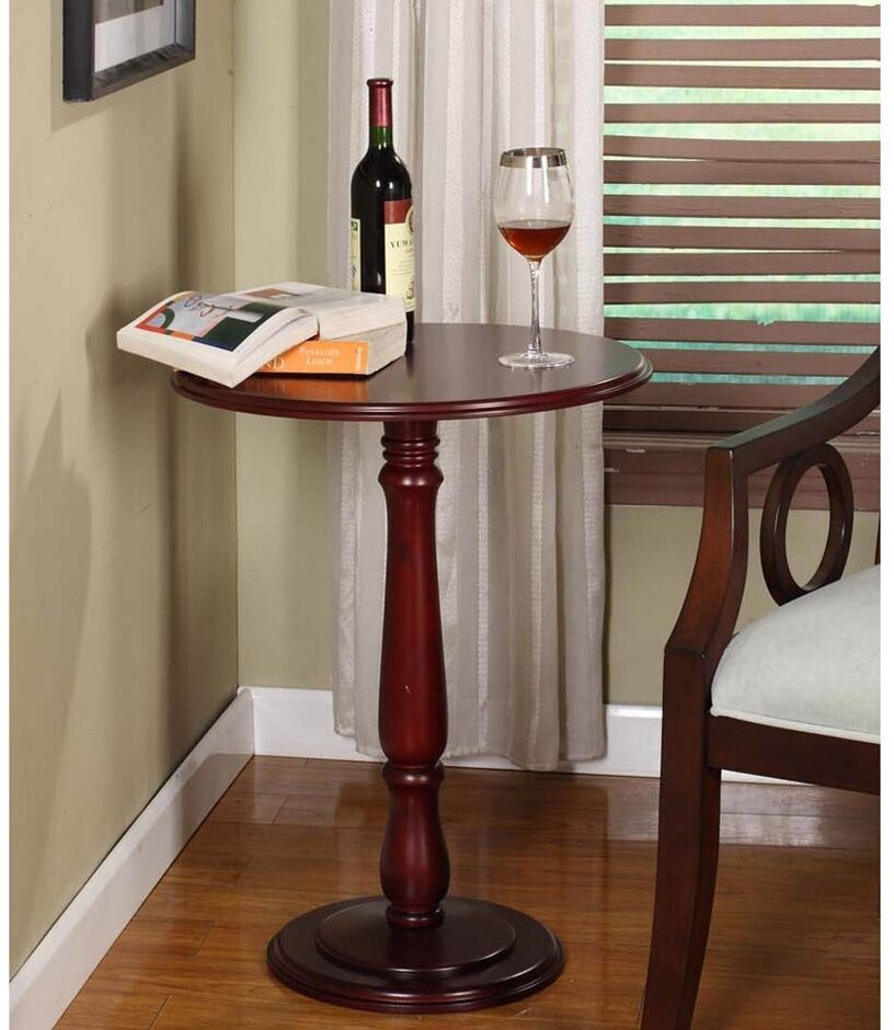 Indoor plant stand wood table pedestal side cherry dark for Small dark wood side table