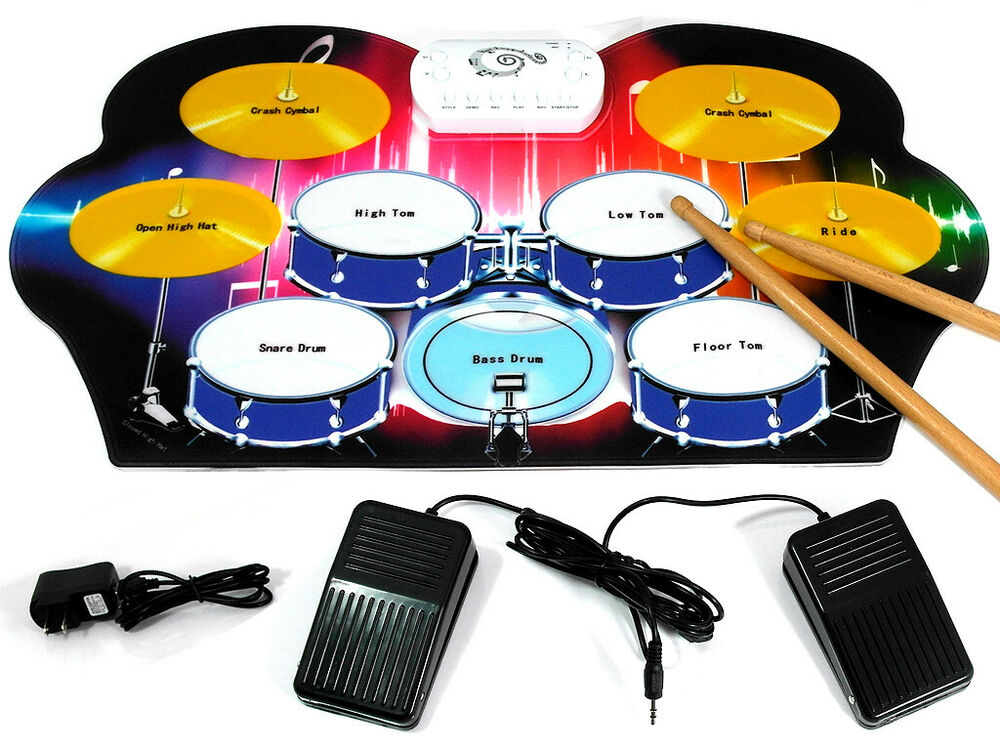D Luca Roll Up Portable 9 Pad Electric Drum Set Kit M312