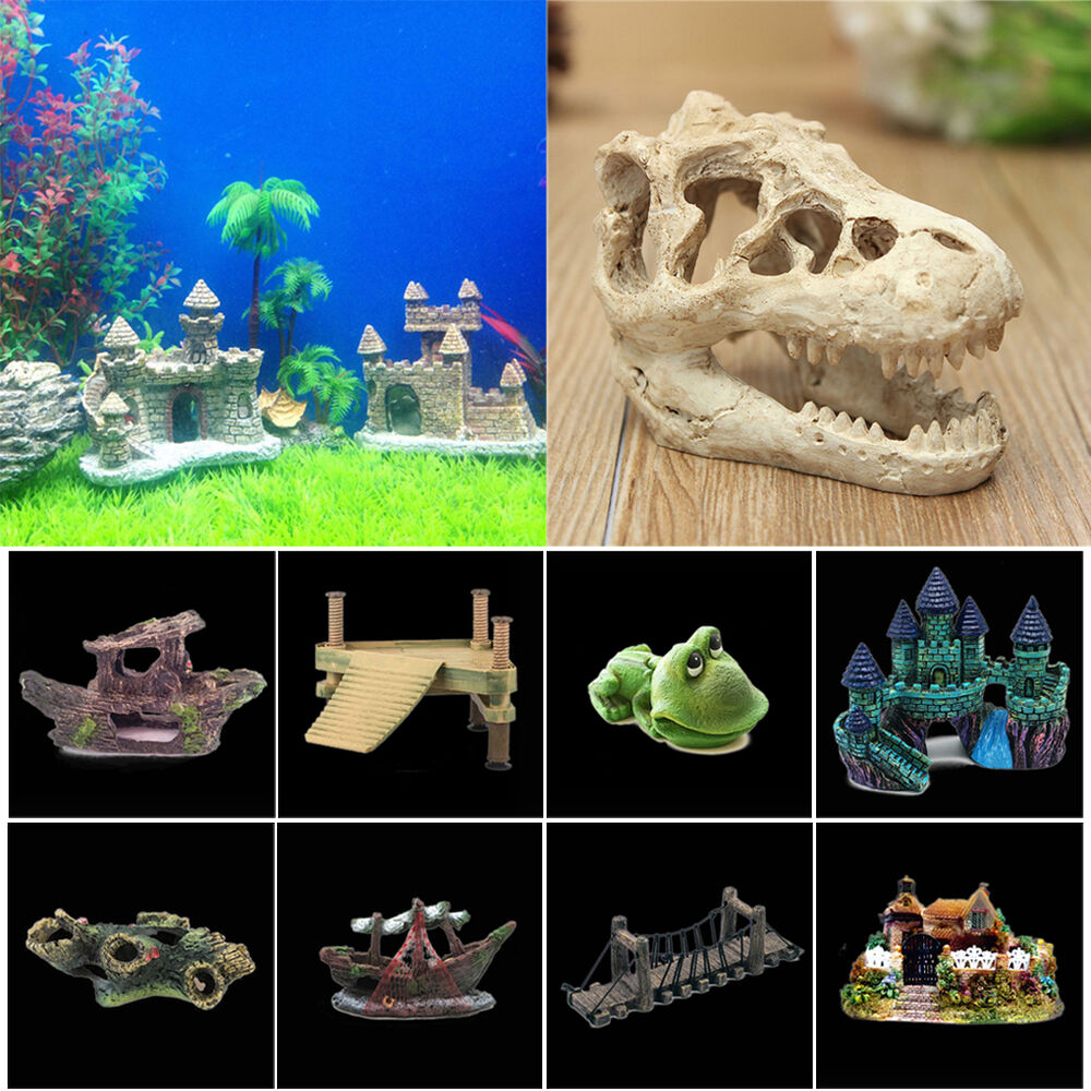 Aquarium decoration ornament fish tank cave ship bridge for Aquarium cave decoration
