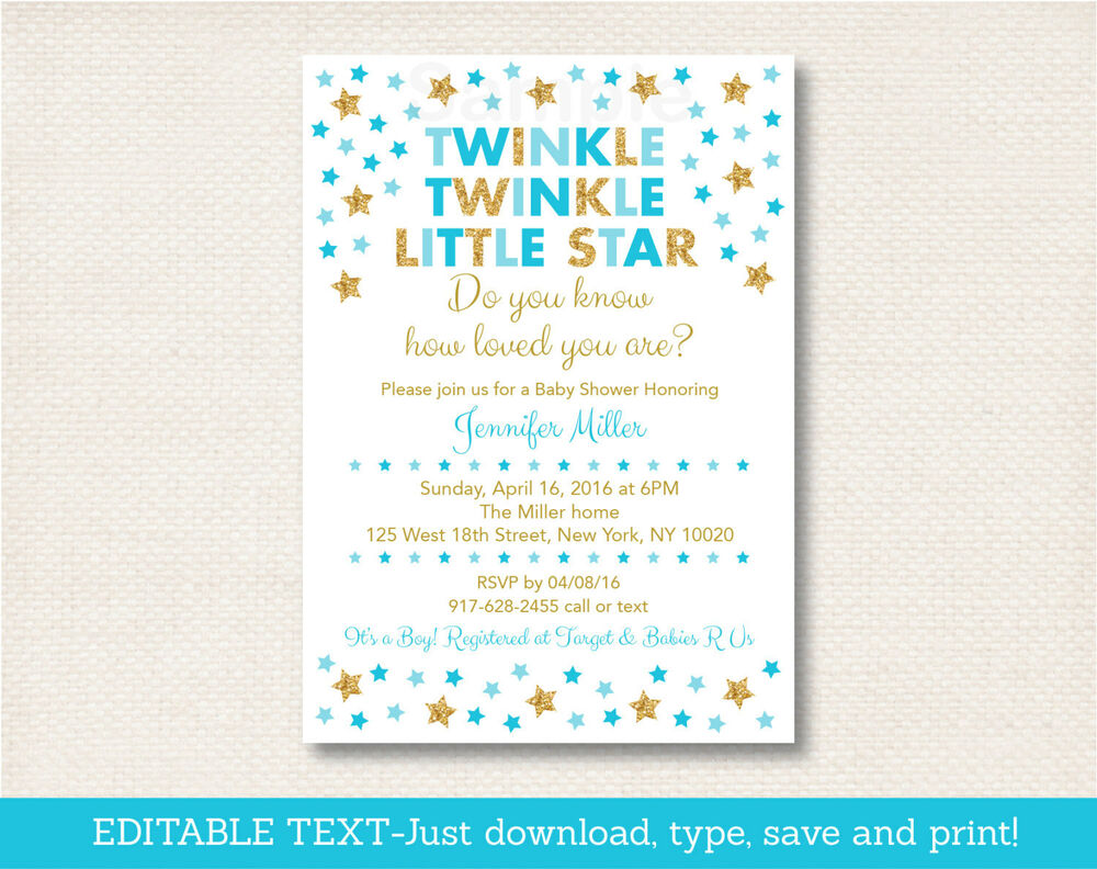 Twinkle Little Star Blue & Gold Printable Baby Shower ...