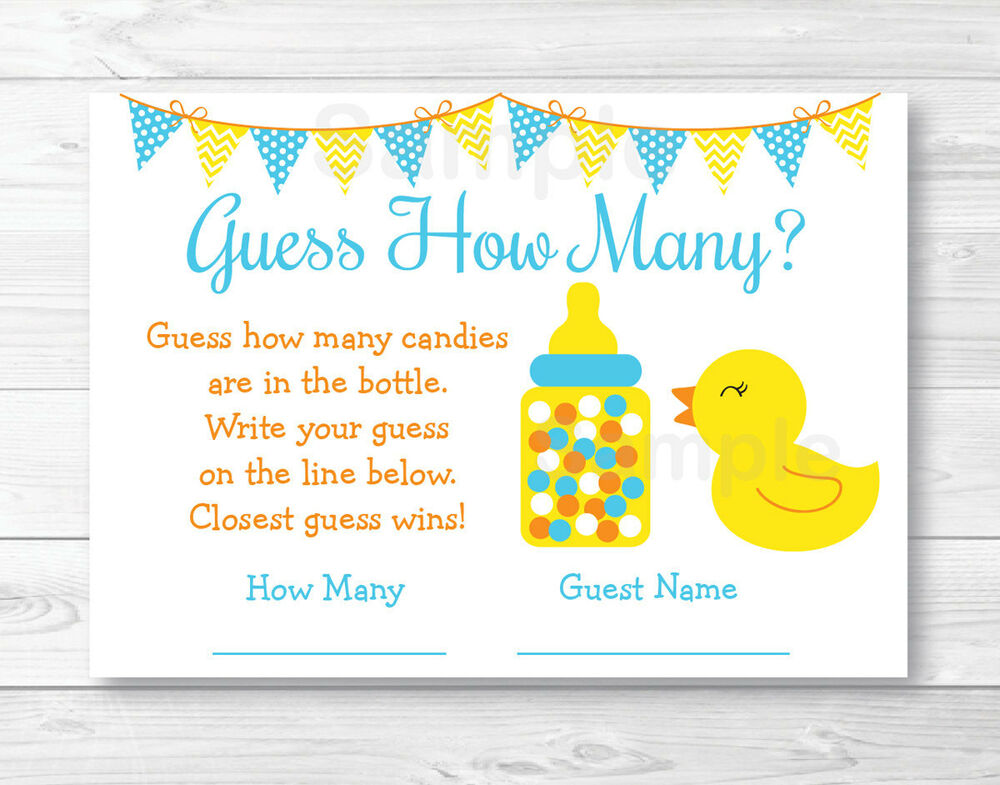 """Rubber Duck Baby Shower """"Guess How Many?"""" Game Cards 