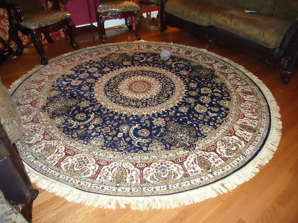 Persian Silk Rugs 6 Round Rugs Navy Silk Rug Circle Blue