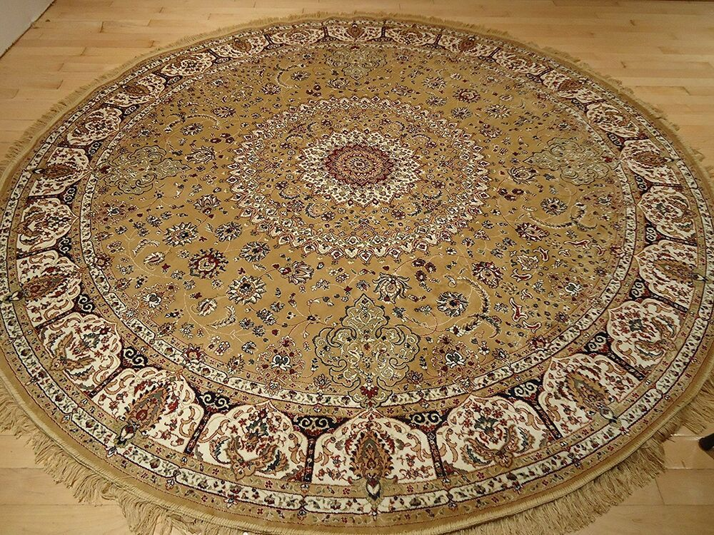 Luxury Gold Persian Qum Silk Rug 6 Round Shape Rugs