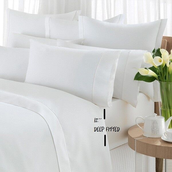 2 new queen white hotel fitted sheet t200 percale hotel 60x80x12 deep pocket ebay. Black Bedroom Furniture Sets. Home Design Ideas