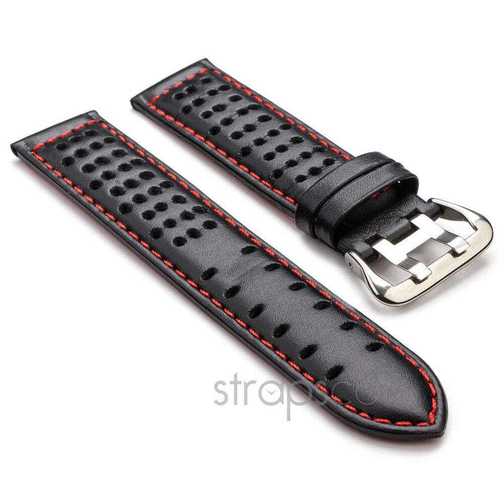 Strapsco black w red gt rally tropic perforated leather watch band mens strap ebay for Black leather strap men