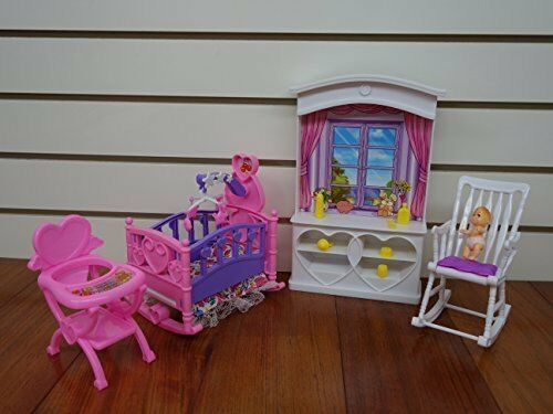 Barbie Size Dollhouse Furniture New Baby Room Play Set