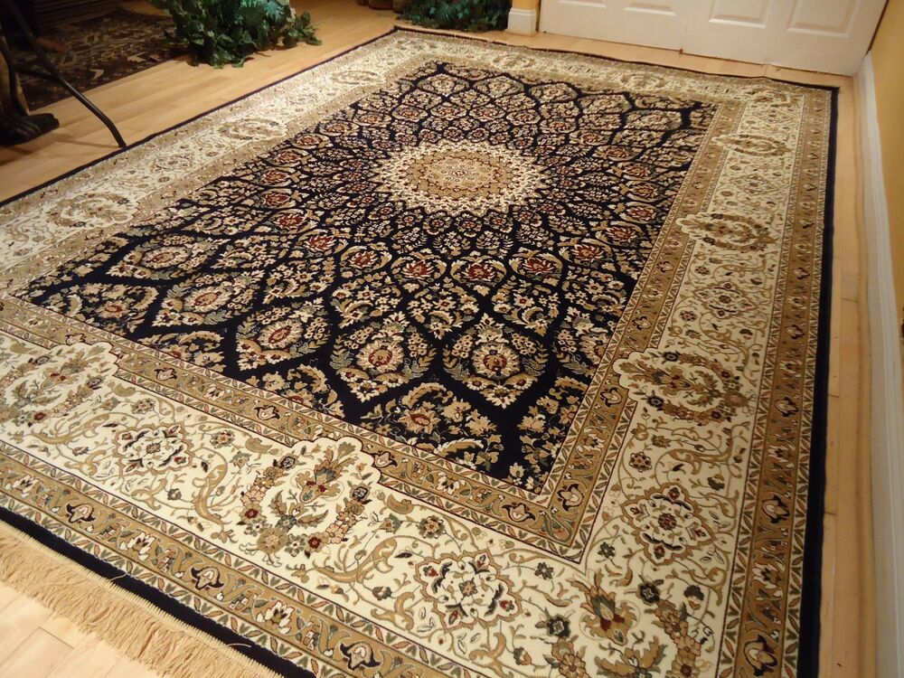 Silk Persian Rug Qum 8x10 Navy 5x7 Rugs Hall Runner 2x12