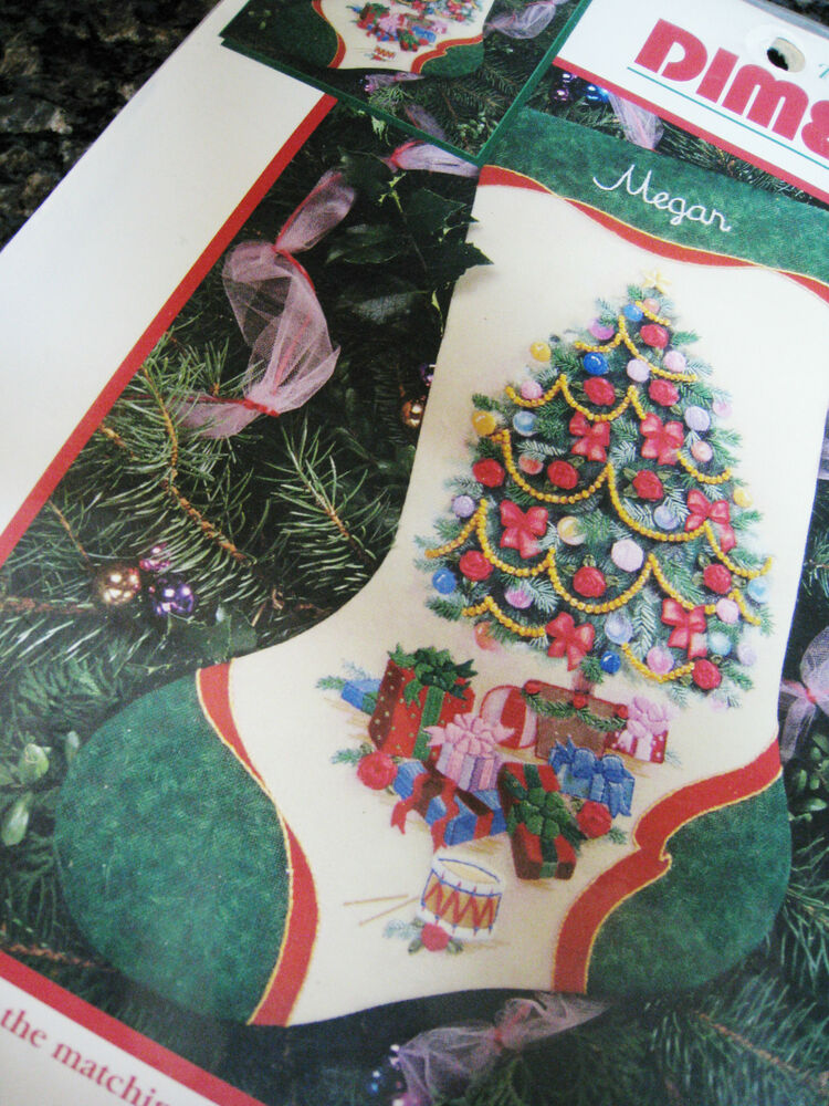 Dimensions christmas crewel stitchery embroidery stocking