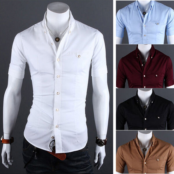 Men 39 s slim fit t shirt short sleeve tops tee casual for Fitted short sleeve dress shirts for men