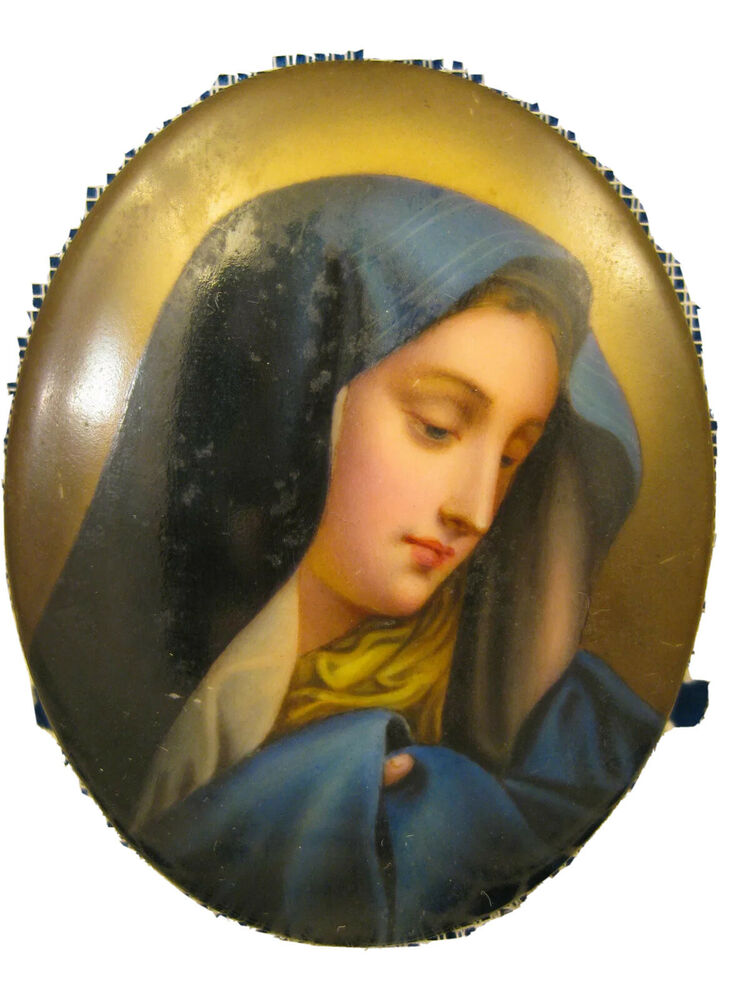 Miniature portrait plaque madonna in blue hand painted for Hand painted portraits from photos
